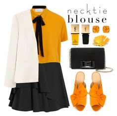 Fall Trend: Necktie Blouse by bliznec on Polyvore featuring Elvi, MANGO, Alexander McQueen, Charlotte Olympia, Miu Miu, Yves Saint Laurent, polyvoreeditorial, polyvorecontest and falltrend