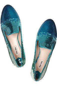 Miu MiuDégradé sequined slippers