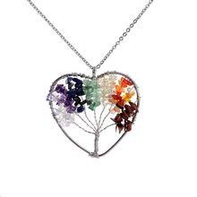 Vida árbol colgante en forma de corazón 7 Chakra piedra arco iris cristales de cuarzo rosa collares para mujeres hombres regalo de san valentín(China (Mainland))