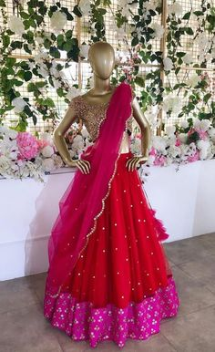Beautiful Lehenga-Choli with net dupatta. Embellished with handcrafted using mirrors and beads. Brilliant color combination and detailing. Half Saree Lehenga, Lehnga Dress, Lehenga Blouse, Half Saree Designs, Blouse Designs, Bridal Lehenga Collection, Kurta Designs Women, Pink Prom Dresses, Trendy Clothes For Women