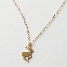 MY DEAR , Necklace Friendship , love , gift deer animal charm on 14k Gold Filled Chain - Minimalist Jewelry