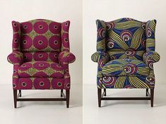 DIY inspiration for my old wingback chair (just add West African wax print fabric and a staple gun)