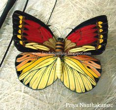 Multicolored Butterfly by Priya Nanthakumar:  The Art of Quilling