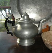 Signed J.B. Woodbury pewter teapot - circa 1832-1838. Click to see full size image