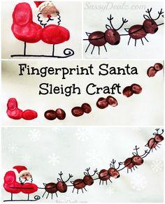 Santa's Sleigh w/ Flying Reindeer Fingerprint Craft For Kids so cute