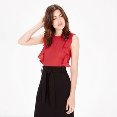 Warehouse, WOVEN FRONT RUFFLE TOP Bright Red 1