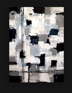 Black and White Acrylic Abstract Painting TITLE by OraBirenbaumArt