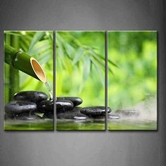 3 Panel Wall Art Green Spa Still Life With Bamboo Fountain And Zen Stone In Water Painting The Picture Print On Canvas Botanical Pictures For Home Decor Decoration Gift piece (Stretched By Wooden Frame,Ready To Hang) Frames On Wall, Framed Wall Art, Canvas Wall Art, Canvas Prints, Wall Art Pictures, Print Pictures, Zen Wallpaper, Bamboo Fountain, 3 Panel Wall Art