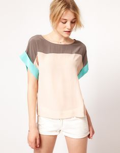 French Connection Color Block Top