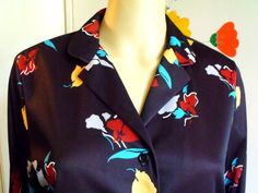 Vintage 1970s Disco Shirt Black With Flowers by VaylaRoseVintage
