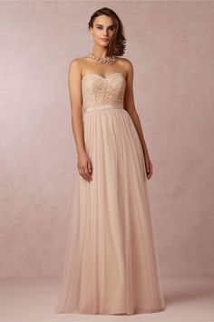blush bridesmaid dress - has the option to have straps, halter, cap sleeve, off the shoulder. also available in a pretty sea glass
