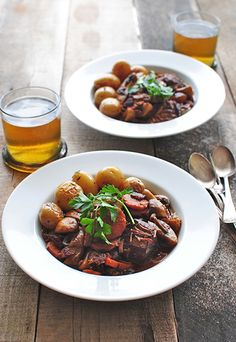 Beef Bourguignon, ready to eat, vertical photo