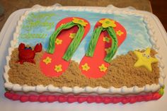 Beach Theme Sheet Cakes | Read more about our creations on the Simply Sweets blog.