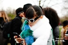 Some seriously cool fur accessorized perfectly with some seriously quirky frames. Seen at the London Fashion Week. #LFW #ShadesOfFashionWeek #sunglasses