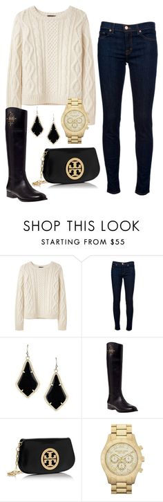 """""""knit sweater"""" by pretty-and-preppy ❤ liked on Polyvore featuring A.P.C., J Brand, Kendra Scott, Tory Burch and MICHAEL Michael Kors"""