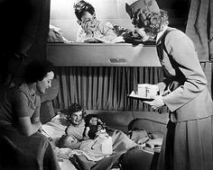 Though one might at first think this image was of the berths on a train, it is indeed a shot of the sleeping quarters on 1950s Boeing 377 Stratocruiser.