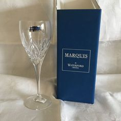 "Waterford Caprice Crystal Wine Goblet 8 1/2"" SIGNED NIB w/Tags Italy #WaterfordMarquisCollection"