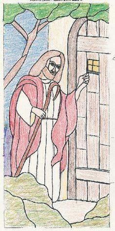 Jesus at the Door - drawing -Bethel Chapel Church, Poplar Bluff, MO 2005 & 2008, by Sandy (Johnson) Burnett, (formerly Glass with a MIssion, Art-Attack-Studios,  GlassMoose.com)