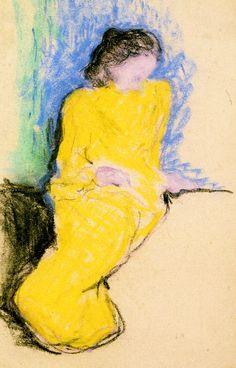 Seated Woman in a Yellow Dress, Marie Vuillard Edouard Vuillard - circa 1890