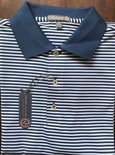 NEW Peter Millar E4 Summer Comfort Blue White Striped Golf Polo Shirt Size L  | eBay
