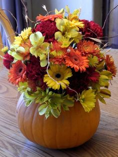 Fall Pumpkin Centerpiece Flowerman Columbus Alstroemeria Yellow Orange Red Gerbera Daisy Daisies Wheat Willow Branches DIY Do It Yourself