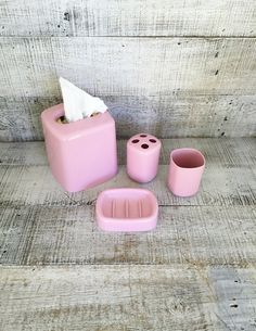 Bathroom Accessories Set Vintage Soap Holder Toothbrush Holder Cup Tissue Box Cover Pink Bathroom Set Acrylic Retro Bathroom Decor by TheDustyOldShack on Etsy