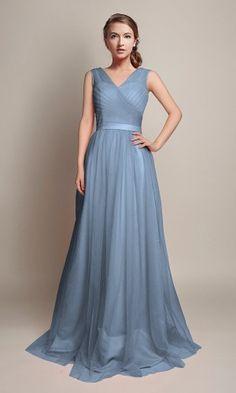 Hot V-Neckline Flowy Pleated Long Tulle Bridesmaid Dresses TBQP309 5992d4d40fd8