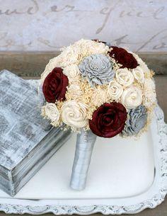 Maroon & Grey Bouquet, Bride's Wedding Bouquet, Dark Red, Sola Roses, Baby's…