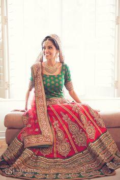 Red and Green Bridal Lehenga. Indian Bridal Fashion, Indian Bridal Wear, Indian Wedding Outfits, Pakistani Outfits, Bridal Outfits, Indian Wear, Indian Outfits, Bridal Dresses, Indian Weddings