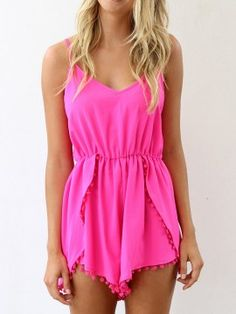 Shop Pink Pom Pom Embellished Cami Romper Playsuit from choies.com .Free shipping Worldwide.$17.99