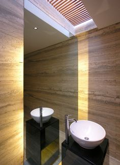 lovely skylight idea, walls also look great. perhaps for powder room.