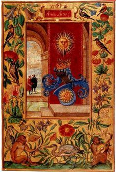 """Le armi dell'Arte - Miniatura di apertura del codice di alchimia """"Splendor Solis"""", versione del 1598, Londra, attribuito a Salomon Trismosin. Esistono altre copie dell'opera nei vari musei d'Europa, la più antica è la versione del 1582, conservata al Museo Statale di Berlino, le altre versioni a Norimberga e Amburgo."""