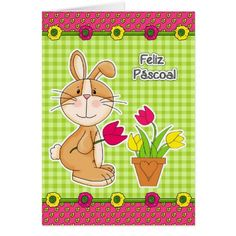 Feliz Páscoa. Funny Easter Bunny Design Customizable Easter Greeting Cards in Portuguese. Matching cards in various languages, postage stamps and other products available in the Holidays / Easter Category of the Mairin Studio store at zazzle.com