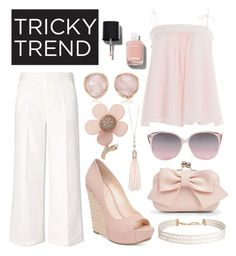 """""""Tricky trend"""" by emma-rouget ❤ liked on Polyvore featuring Tory Burch, See by Chloé, Jessica Simpson, Boohoo, Humble Chic, Monica Vinader, Oasis, Miss Selfridge, Chanel and TrickyTrend"""