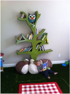 This could be made even brighter and greener - Grandpa might get his tools out this weekend and see what he can do! I love the little boy having a quiet read in the shade of his tree.