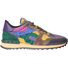 VALENTINO GARAVANI Rockrunner leather sneakers with Swarovski ($1,253) ❤ liked on Polyvore