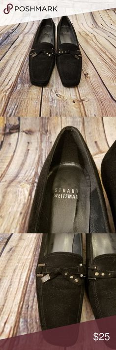 Stuart Weitzman Heeled Black Suede Loafer These loafers are 5.5M for women. Suede exterior. Small, kitten chunky heel. Top Metal bow detail. Stuart Weitzman Shoes Flats & Loafers