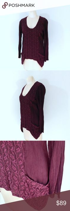 "Johnny Was Embroidered Burgundy Embroidered Top Up for sale in great preowned Johnny Was Burgundy  Embroidered Top. Size M.  Check out my closet, bundle and give me your offer!  Measurements: Bust Area: 16.5"" Top to Bottom: 26""  All Measurements are approximate and taken flat in the front only. Johnny Was Tops"