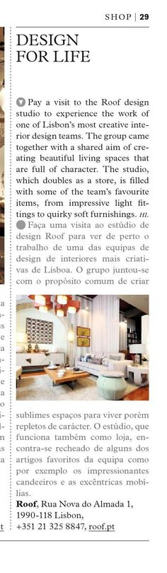 Good morning. Roof Design Studio is featured at Global Blue AW14-15 Portugal!  #SHOP #Portugal #design #studio #Lisbon