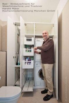 Schrank für alles rund um die Wäsche - Waschmaschine und Trockner übereinander, Bügelbrett, Auszüge für Waschmittel und Putzmittel, Bügeleisen und Wäschekörbe