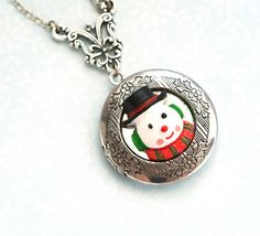 Snowman Locket Necklace Christmas Pendant Necklace by iceblues