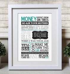 Perfect print for fathers day for more ideas see this blog #fathersday #typography #dad