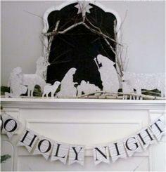 glitter nativity hymnsandverses - for next year's living room mantle!