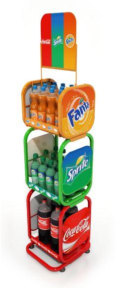Modular multimarca Coca Cola; Propuesta desarrollada para Coca Cola, Construido en Perfil metálico es completamente desarmable e interconectable, desarrollado para ESTRATEGOS-INVENTA
