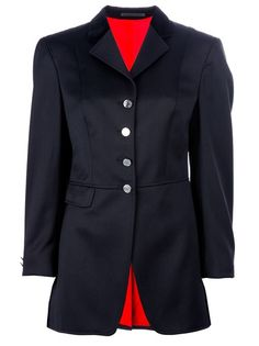 Black wool jacket from Hermes Vintage featuring a notched lapel design, long sleeves with a buttoned cuff, a buttoned closure along the front, a fitted waist with two silver-tone buttons to the back, two flapped pockets to the hips and a double back vent. Please note that vintage items are not new and therefore might have minor imperfections.