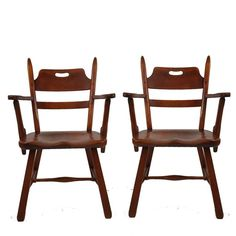Pair Of Cushman Vermont Hard Rock Maple Americana Armchairs By Herman  DeVries 5