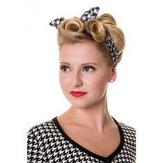 Retro 60's Pinup plaid and houndstooth Pattern Elastic Campus Headband ❤ liked on Polyvore featuring accessories, hair accessories, plaid headband, elastic headbands, elasticated headband, head wrap headband and retro hair accessories
