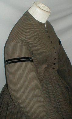 Classic 1860's Brown Pinstripe Cotton Dress Museum de Accessioned   eBay