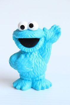 "2 1/2"" COOKIE MONSTER PVC figure Sesame Street Hasbro"