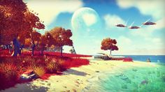 No man's sky has 18 zillion planets it would take 7 billion years for everyone in the world to finish in the same save every second of their life from birth.the normal planet in no mans land is at the same scale of earth 2 to 64 every planet is different. the game might be a online game the goal is to take collect resources and it to the centre of the universe.since the universe is so large it has a lot of ai to battle